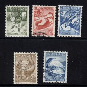 Greenland Sc 41-45 1957-1969 Legends stamp set used