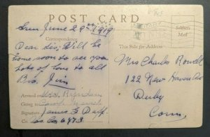 1919 WWI Comic Postcard Military Post Office Cancel to Connecticut