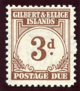 Gilbert & Ellice Is 1940 KGVI Postage Due 3d brown superb MNH. SG D3. Sc J3.