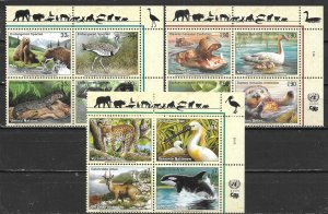 United Nations 776a, G 355a, V 272a 2000 Endangered Species Block MNH (lib)