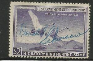 RW17 1950 Federal Duck Stamp Used  Signed No Faults-EBAY Low-Example Offer?