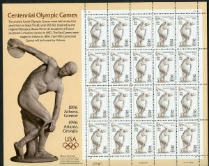 US SCOTT# 3087 CENTENNIAL OLYMPICS COMPLETE SHEET OF 20 STAMPS MNH AS SHOWN
