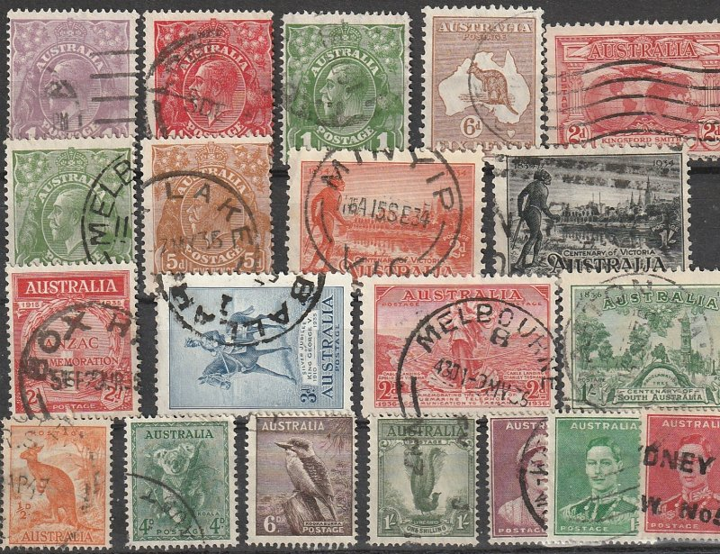 Australi Used Early Issues lot of 20 pcs. #190816-1 CV $78