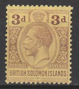BRITISH SOLOMON ISLANDS 1914 KGV 3D WMK MULTI CROWN CA