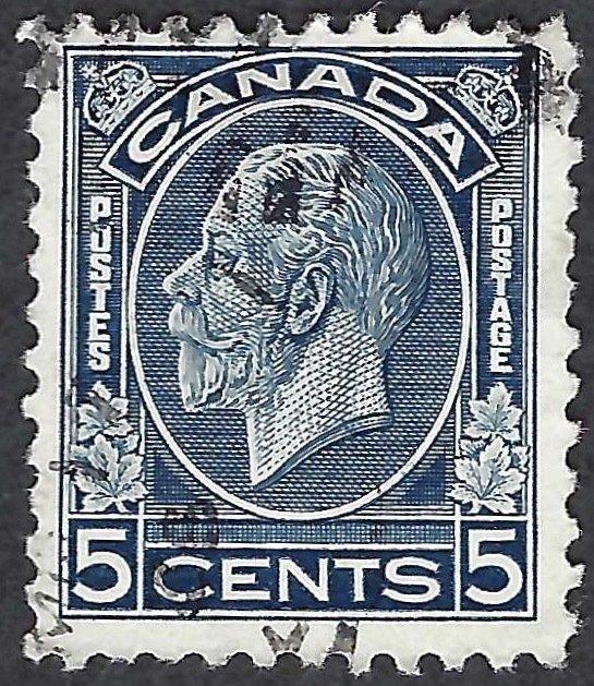Canada #199 5¢ King George V (1932). Dark blue. Fine centering. Used.