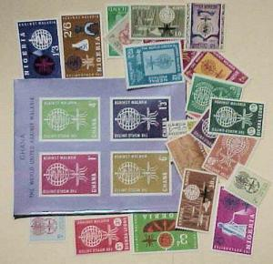 MALARIA MOSQUITO 1 SHEETLET & 25 STAMPS BRITISH COMMUNITY  MOSTLY MINT NH