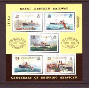 Guernsey Sc 415a 1989 Great western Steamships stamp sheet mint NH