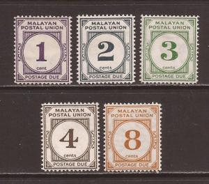 Malaya-Federation scott #J20-24 m/h stock #17408
