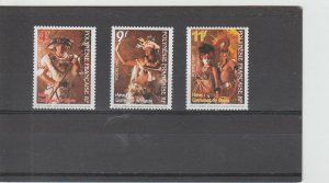 French Polynesia  Scott#  719-721  MNH  (1997 Traditional Dance Costumes)