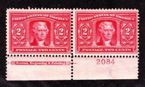 US 324 2c Louisiana Purchase Mint Bottom MI Plate Pair #2084 F-VF OG H SCV $75