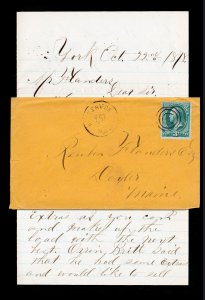 BANKNOTE STAMP SCOTT #158 ORANGE COVER KITTERY DEPOT ME (DPO) WITH LETTER 1878