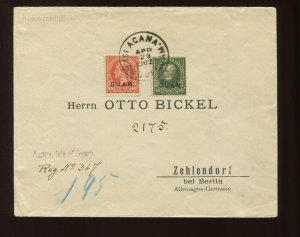 Guam Scott 10 & 11 Overprint Used Stamps on Nice Registered Cover to Germany