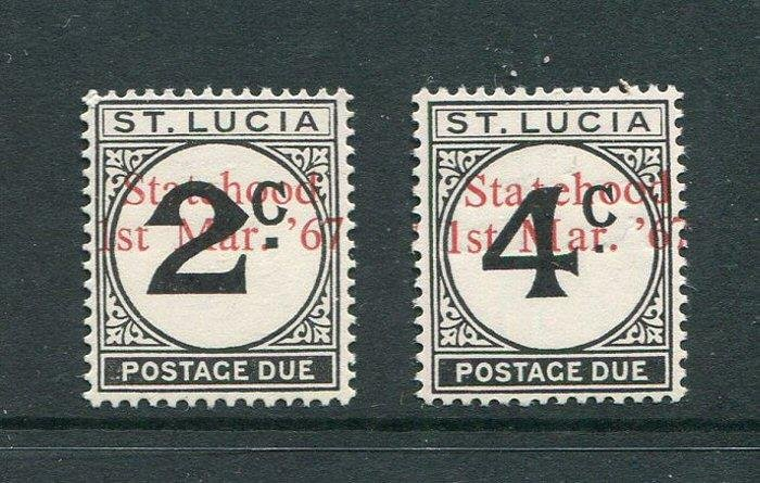 St Lucia #J11-2 With Statehood Overprint (footnoted) MNH