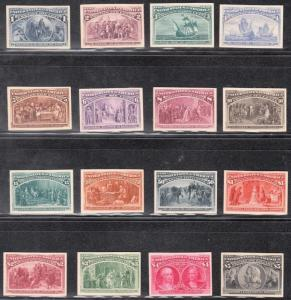 #230-245P4 VF PLATE PROOFS ON CARD COMPLETE COLUMBIAN SET/16 W/ ENVELOPE WL4496