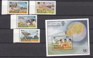 J27507 1983 maldive islands set + s/s mnh #997-1001 communication