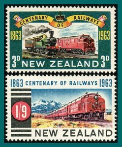 New Zealand 1963 Railway Centenary, MNH #362-363,SG818-SG819