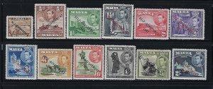 MALTA SCOTT #208-219  1948-43 SELF-GOVERNMENT OVPT SHORT SET - MINT LIGHT HINGED