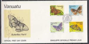 Vanuatu, Scott cat. 532-535. Butterflies issue on a First day cover. ^