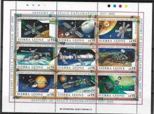 1989    SIERRA LEONE  -  SG.  1284 / 1292  -  SPACE EXPLORATION SHEETLET  -  MNH