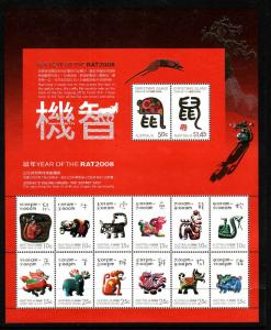 Christmas Is.-Sc#469-unused NH sheet-Chinese New Year of the Rat-2008-