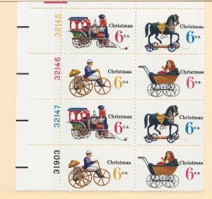 United States,1415-18, Christmas-Toys 1970 Plt.Blk(8), MNH