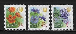 Ukraine, 466-68, Flowers Singles,**MNH**