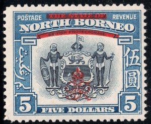 North Borneo 1947 KGVI $5 Indigo and Pale Blue MH
