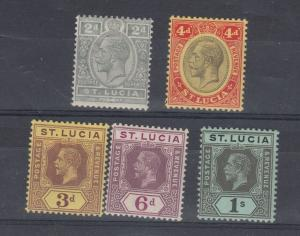 St Lucia 1912/26 Collection of 5 Values to 1/- MH J5690