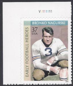 #3808 37c Bronco Nagurski P# Single 2003 Mint NH