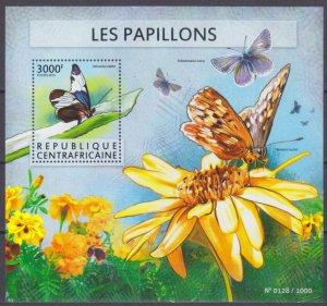 2015 Central African Republic 5644/B1350 Butterflies / Flowers 14,00 €
