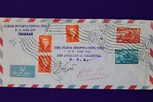Iran airmail cover to USA 1965 Flour Co used sc#1218 1222 1213 Teheran