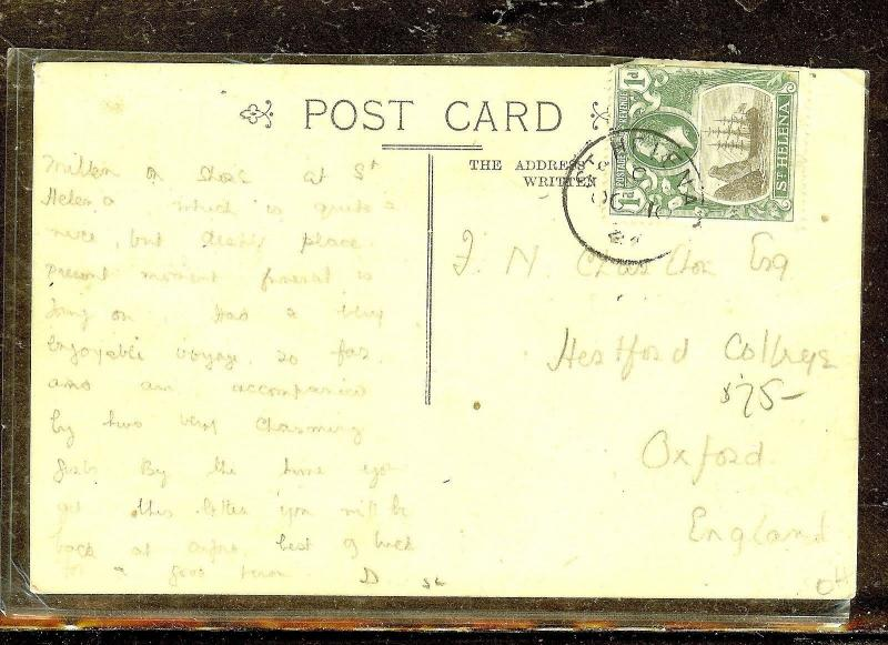 ST HELENA (P0210B) KGV 1D  ON 1933  PPC TO OXFORD,  ENGLAND
