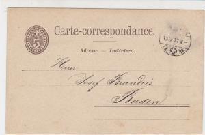 Switzerland 1877 Schwanden to Baden Stamps Postcard Ref 30574