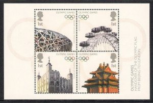 MS2861 2008 Handover Of Olympic Flag Beijing miniature sheet UNMOUNTED MINT/MNH