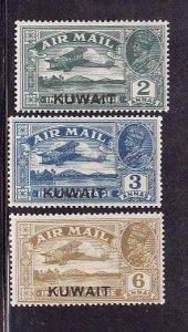 Kuwait-Sc#C1-C2,C4-unused 3/4 Airmail set-C1 hinge remnant, C2,C4 LH-`1933-4-