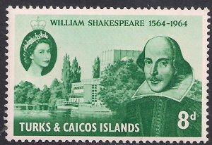Turks & Caicos 1964 QE2 8d Shakespeare MM SG 257 ( K1412 )