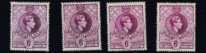 SWAZILAND  1938 - 54   S G 34 + 34A + 34B + 34C    4 X  6D  VALUES    MH