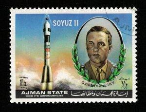 Space 1972 Airmail - Soyuz 11 G. Dobrovolsky,  Ajman 11/2Riyl (TS-560)