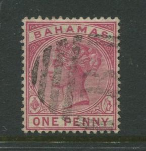 Bahamas -Scott 27 - QV Definitive Issue -1884 - FU - Single 1p Stamp