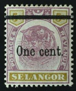 Malaya 1900 Selangor Tiger 1c opt 5c MH SG#66a M1842