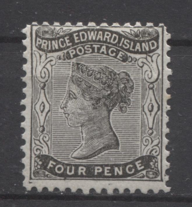Prince Edward Island #9 (SG#31) 4d Blk Pence Issue on Thick White Paper F-65 OG