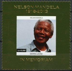 Sierra Leone 2013 MNH Nelson Mandela In Memoriam 1v Gold Stamp Politicians