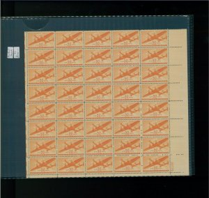 1941 United States Air Mail Postage Stamp #C31 Plate No 22779 Mint Partial Sheet