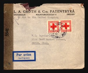 Sweden 1945 Censor Cover to USA / Sm Top Tear - Z16803