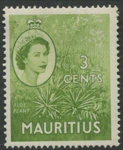 Mauritius - Scott 252 - QEII Definitives -1954 -MLH -Single 3c Stamp