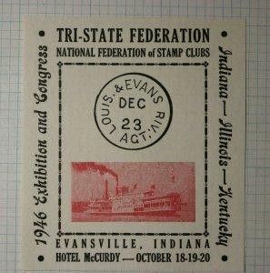 Exhibition & Congress Tri State Federation 1946 Evansvile IN Philatelic Souvenir
