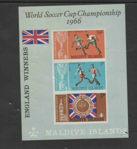 MALDIVE ISLANDS #213a  1967  WORLD CUP SOCCER    MINT  VF NH  O.G  S/S