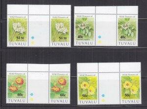 TUVALU, 1993 Wild Flowers set of 4, gutter pairs, mnh.