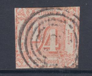 Thurn & Taxis Sc 8 used. 1/4s red Numeral, 4 ring target cancel, fresh & F-VF