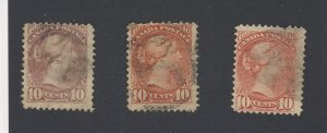 3x Canada Small Queen 10c Used Stamps #40-45-45a Guide Value = $120.00
